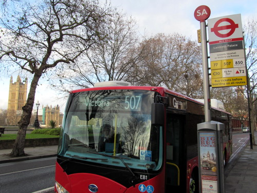 Electric bus outside Lambeth Palace