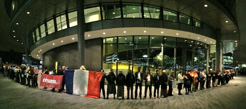 Interfaith vigil outside City Hall after Paris attacks