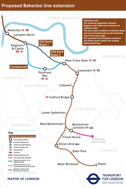 Bakerloo line extension: TfL favours Lewisham via Old Kent Road