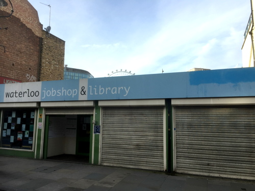 Waterloo Library: 'meanwhile space opportunity' in Lower Marsh