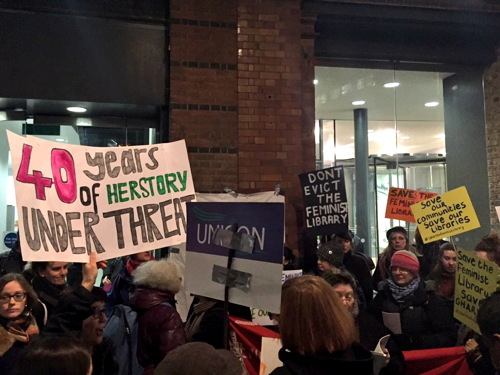 Feminist Library campaigners present petition to Southwark Council