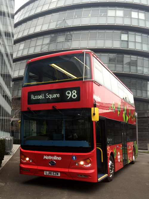 TfL shows off first double-deck electric bus outside City Hall