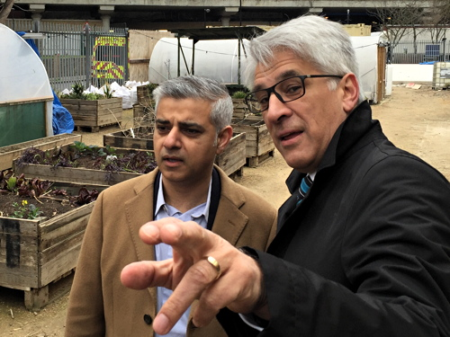 Sadiq Khan visits Oasis Farm Waterloo