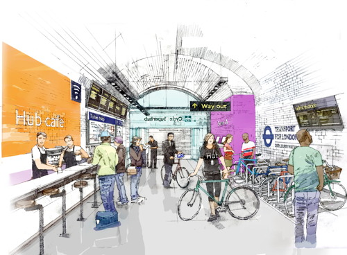Artist's impressions of 'cycle superhub' at Waterloo