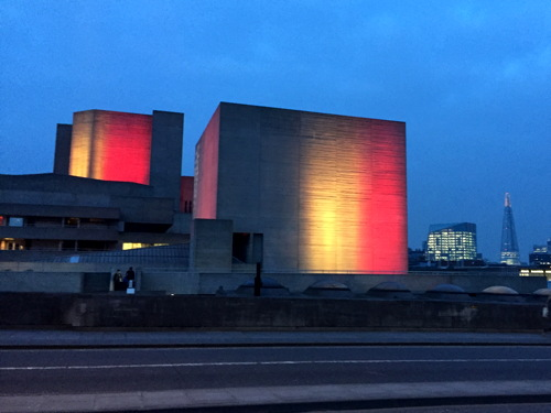 Tower Bridge & National Theatre lit with colours of Belgian flag