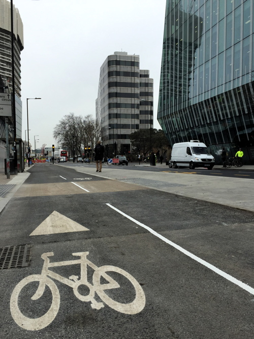 Another section of Blackfriars Road cycle superhighway now open