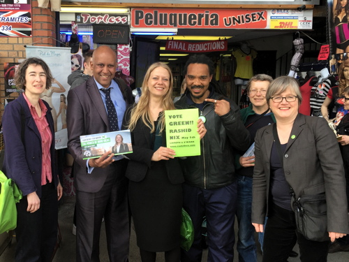 Green Party mayoral candidate Sian Berry visits Elephant & Castle