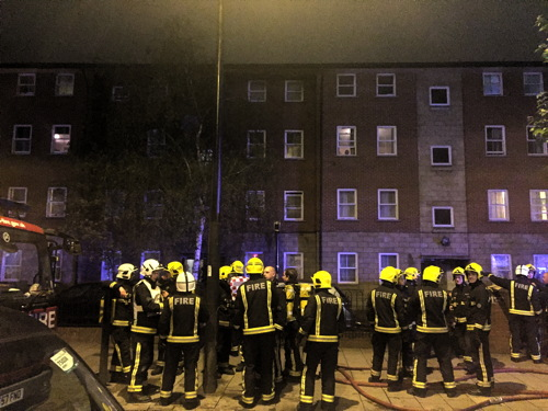 Fire at St Matthew's Court in New Kent Road