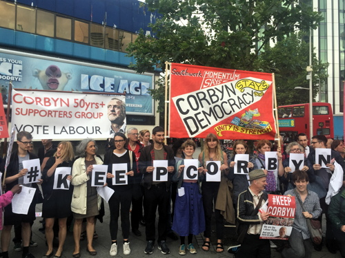 Dozens at rally in support of Jeremy Corbyn at Elephant & Castle