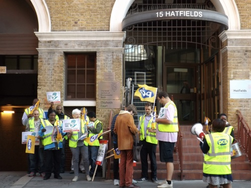 Striking Met Police security guards protest outside employer's HQ