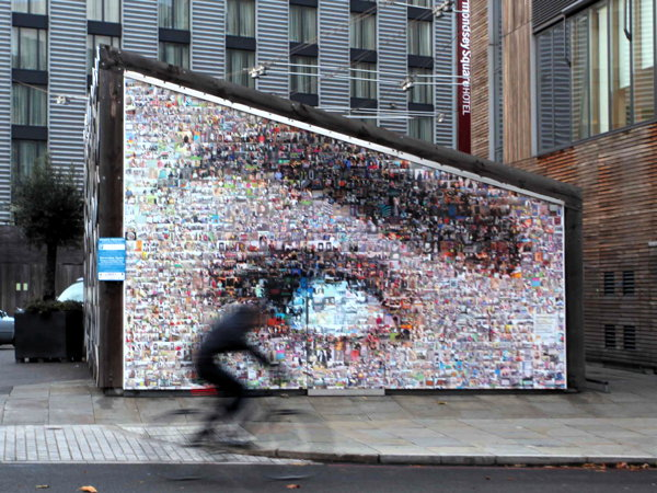 Giant photo mural in Tower Bridge Road