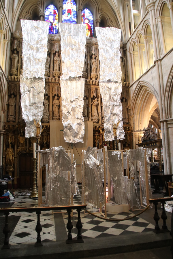 Southwark Cathedral hosts corrugated metal art installation during Lent