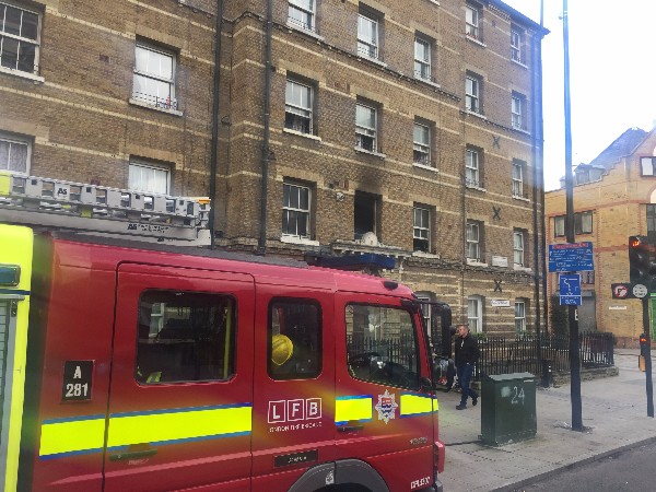 Fire at Peabody Square in Blackfriars Road
