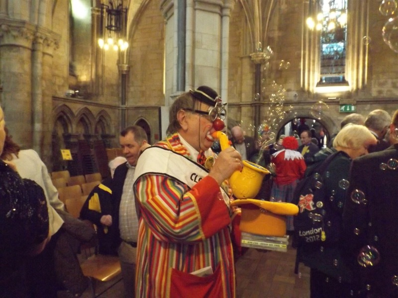 Clowns tribute to Roly Bain at Southwark Cathedral