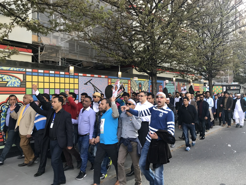 Protests as Bangladeshi PM visits ODI in Blackfriars Road