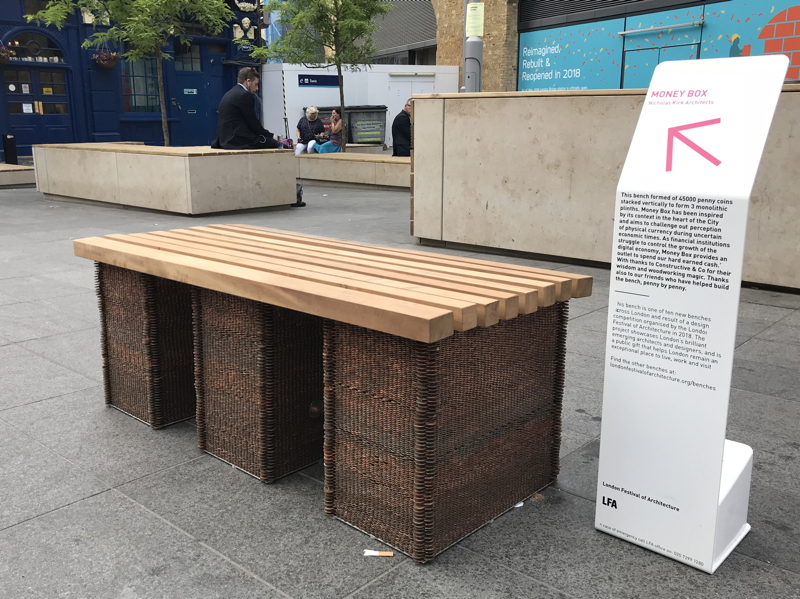 Bench made from 45,000 1p coins installed at London Bridge