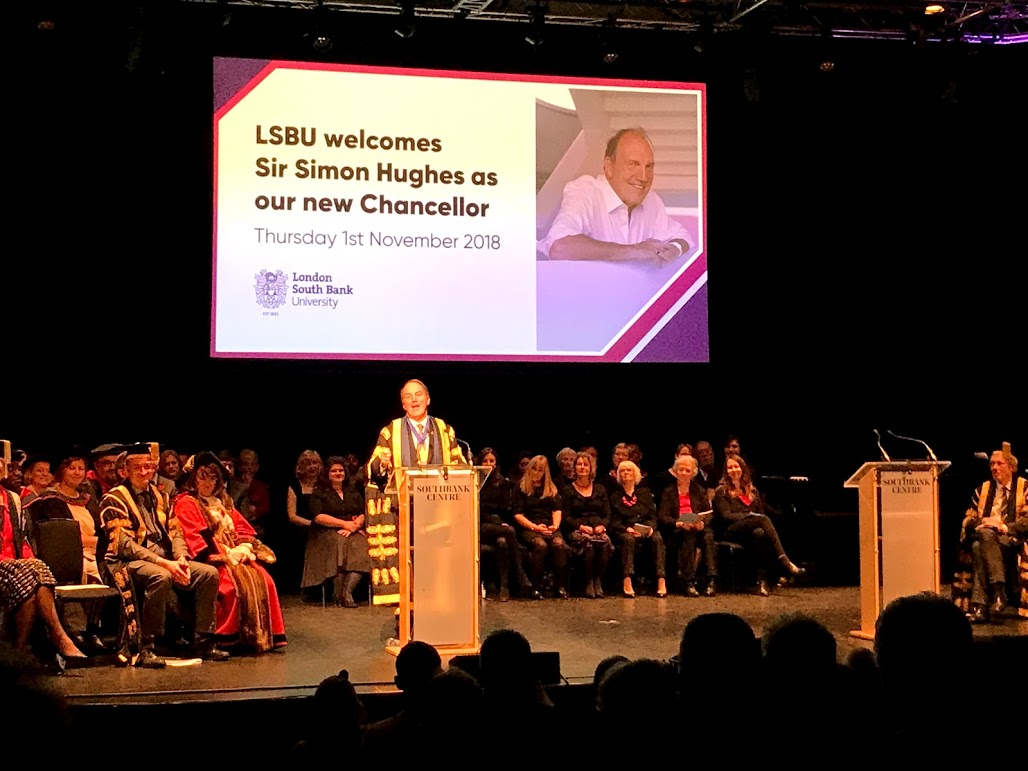 Sir Simon Hughes installed as LSBU chancellor