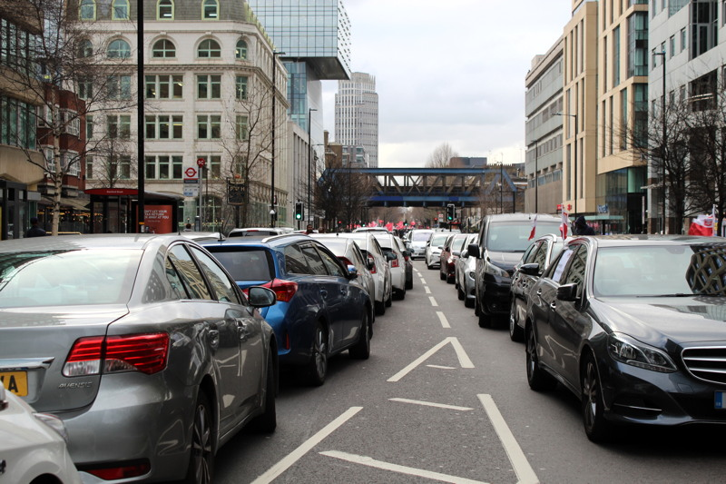 Minicab drivers hold congestion charge demo in Blackfriars Road