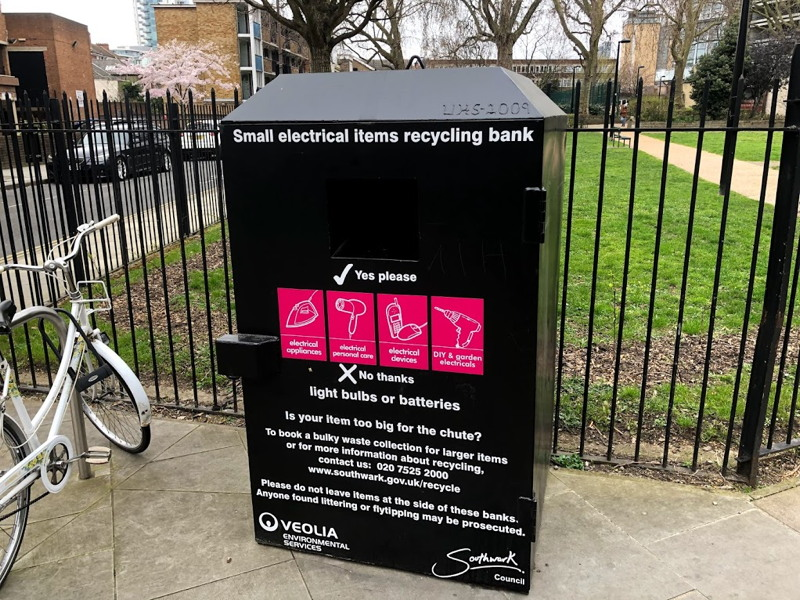 Recycling bins for electrical appliances now on Southwark streets