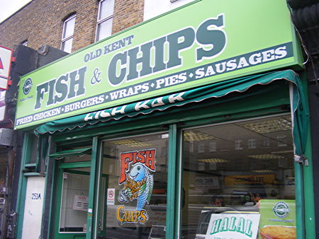 Old kent fish chips 253 old kent road se1 5lu for Fish and chips restaurant near me