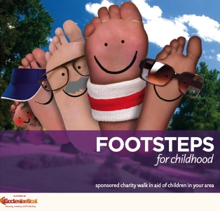 Footsteps for Childhood at Bankside riverside walkway