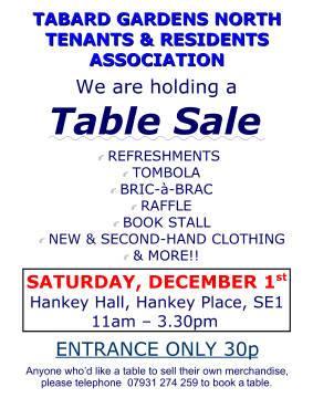 Table Sale at