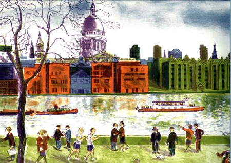 Bernard Cheese RE: Bankside, lithograp