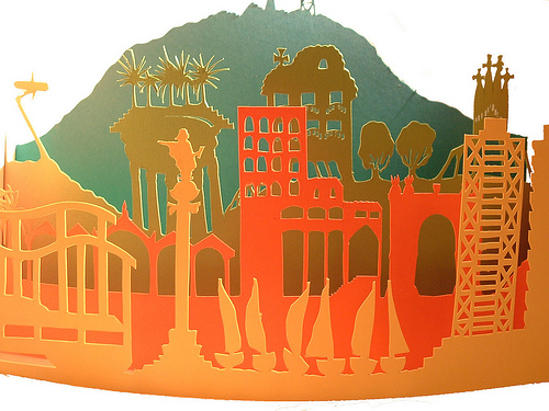 City of Barcelona in paper cut