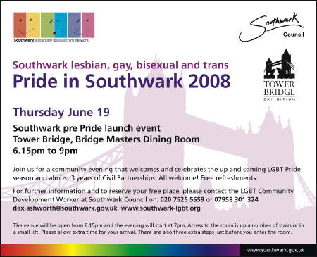 Southwark pre-Pride launch event at Tower Bridge Exhibition