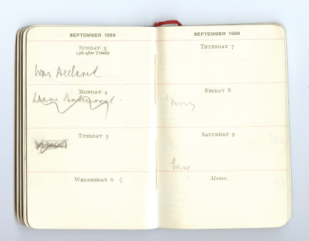 Chamberlain's pocket diary for 1939