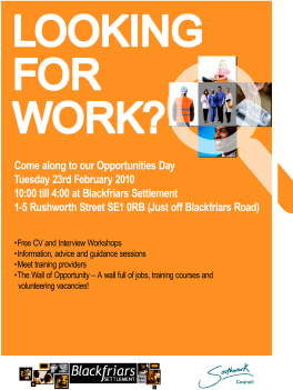 Opportunities Day at Blackfriars Settlement