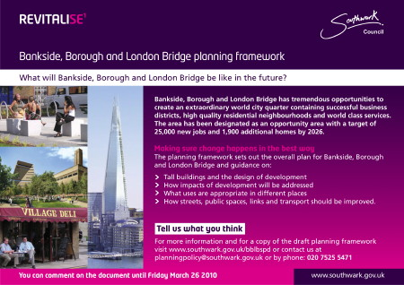Bankside, Borough & London Bridge Planning Framework Community Consultation at Queensborough Community Centre