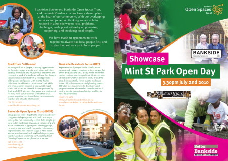 Showcase: Mint Street Park Open Day at