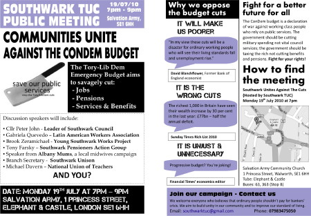 Southwark Unites Against the Cuts at