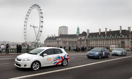 RAC Brighton to London Future Car Challenge at Westminster Bridge