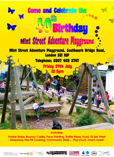 Mint Street Adventure Playground 40th Birthday at