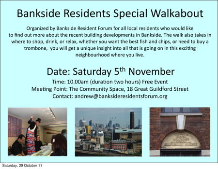 Bankside Residents' Special Walkabout at Bankside Community Space