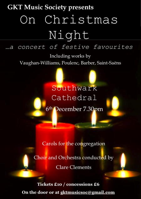 GKT Music Society Christmas Concert at Southwark Cathedral