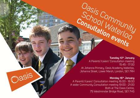 Oasis Community School Waterloo Consultation Meeting at Oasis Academy Johanna