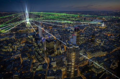 Shard inauguration light and laser show at