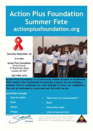 Actionplus Foundation Summer Fete at Christ Church Southwark