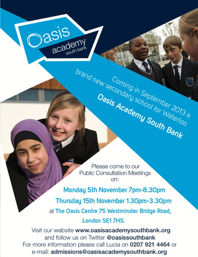 Oasis Academy South Bank Public Consultation Meeting at Oasis Centre