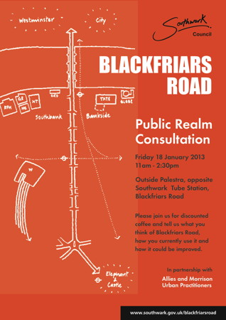 Blackfriars Road Public Realm Consultation at Palestra