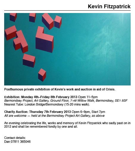Kevin Fitzpatrick Exhibition and Auction at Bermondsey Project