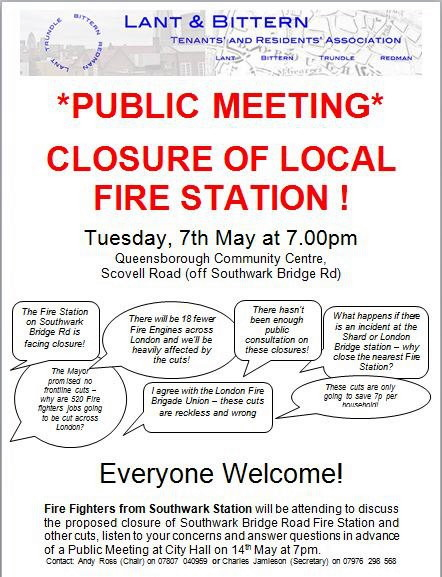 Public Meeting re Proposed Closure of Southwark Fire Station at