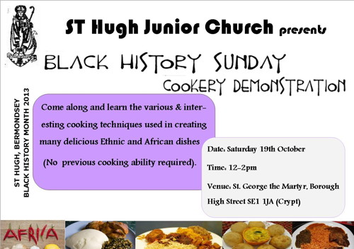 Black History Sunday Cookery Demonstration at St George the Martyr