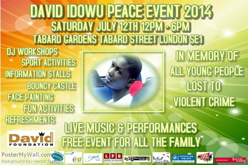 David Idowu Peace Event at Tabard Gardens