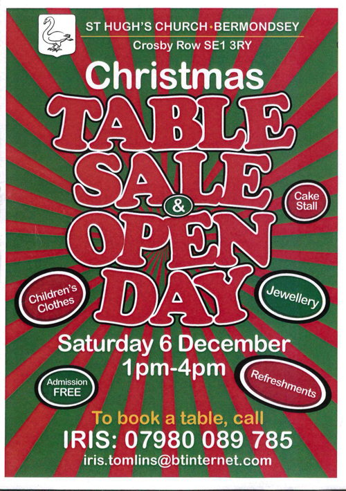 Christmas Table Sale & Open Day at St Hugh's