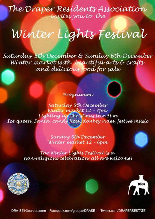 Winter Lights Festival at Elephant & Castle Southern Junction