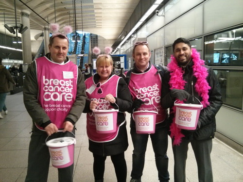 Breast Cancer Awareness Month Charity Collection at London Bridge Station